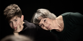 """Young and old… Jasper Kilby and Diane Sandeman in Canberra Youth Theatre's production""""Verbatim""""."""
