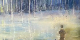 "Detail from Joan Fogarty's pastel work, ""Dawn Tryst"""