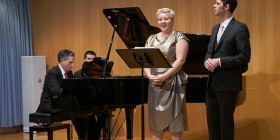 """In An Elemental Mood"" ... from left, Alan Hicks, piano; Sonia Anfiloff, soprano and Ben Connor, baritone."