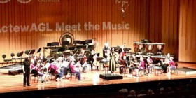 Dr Collins and the musicians, Llewellyn Hall, April 2016