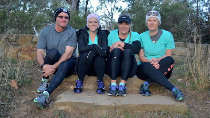 The Bald and the Beautiful walking team, from left, John Goodrick, Stephanie Kock, Belinda Parkes and Emma Lowe. Photo by Danielle Nohra