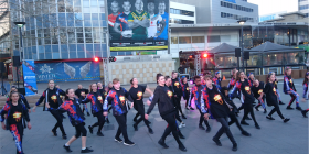 Hip-hop dance troupe Bom Funk performing in Garema place. Photo by Samara Purnell