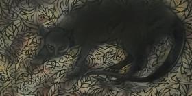 Euan Graham, The Cat Bell (detail), spray enamel on paper, 2017. WINNER of the Empire Global Art Award 2017