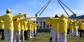 Let's get physical… the Falun Gong in full swing at Parliament House. Photo by Mike Welsh