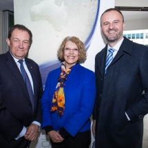 James Service, Sue Hart and Chief Minister Andrew Barr