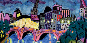 The Seine at Night, Oil pastel