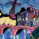 The Seine at Night, Oil pastel