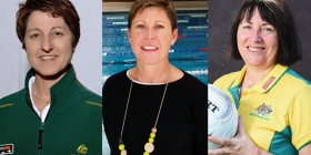 Coaches who love being coaches, from left, Jan Stirling (basketball), Tracey Menzies (swimming) and Lisa Alexander (netball).