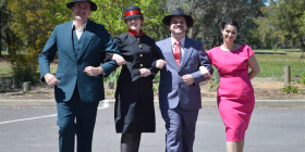 """Guys and Dolls"" stars, from left, Steve Galenic (who plays Sky Masterson), Kitty McGarry (Sarah Brown), Anthony Swaddling (Nathan Detroit) and Tina Robinson (Miss Adelaide)."