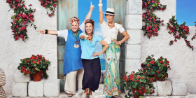 Mamma Mia! cast members, from left, Alicia Gardiner as Rosie, Natalie O'Donnell as Donna and Jayde Westaby as Tanya in Mamma Mia!. Photo by Peter Brew-Bevan