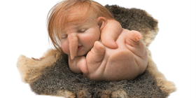 """""""Newborn"""" (2010) by Patricia Piccinini from silicone, Forton, steel, human hair and possum pelt."""