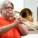 Trombonist Simone de Haan. Photo by PETER HISLOP
