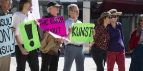 Arts rally outside Legislative Assembly in March this year