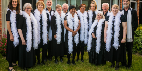 "Members of the ABBA-inspired Andante Andante Choir… ""You just get swept up into their music, it's so upbeat and fun,"" says founder Allison Pyke. Photo by Maddie McGuigan"
