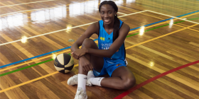 "Basketballer Ezi Magbegor… ""I'm really enjoying my first season as a Capital. We have a really good group of girls."" Photo by Maddie McGuigan"