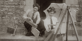 "Designer-maker, artist, teacher, writer, historian and ""new woman"" Eirene Mort (right) pictured in 1905 with her partner of 60 years, the wood artist Nora ""Chips"" Weston."