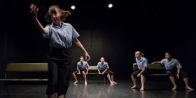 Dancers performing Caspar Ilschner's 'Does School Fit 7.6 Billion'