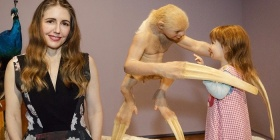 Patricia Piccinini with her work 'The welcome guest,' NGA, Canberra