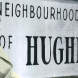 "Cover image of ""The Neighbourhood of Hughes"" featuring Mrs Esther Fry resting on a rock in 1963 after looking at an exhibition of 50 houses at Hughes."