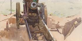 Arthur STREETON , 60 Pounder gun off Albert Road, 1918, watercolour and pencil, Australian War Memorial