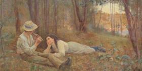 "On loan… Frederick McCubbin's large, early work, ""Bush Idyll 1893""."