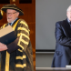 From left,  Prof Amin Saikal with ANU chancellor Prof Gareth Evans, and emeritus fellow Colin Steele. Photos by Stuart Hay, ANU