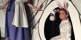 Sarah O'Neil As Alice, left, and Jade Breen as the White Rabbit.