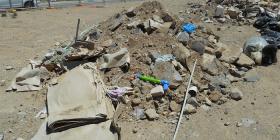 Dumped building waste.