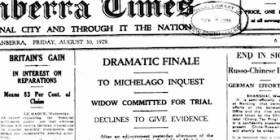 """A heading from the front page of """"The Canberra Times"""" in August, 1929."""