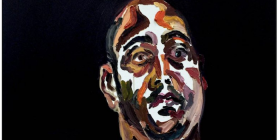 "Myuran Sukumaran's oil-on-canvas self portrait titled ""Time is Ticking""... at the Tuggeranong Arts Centre."