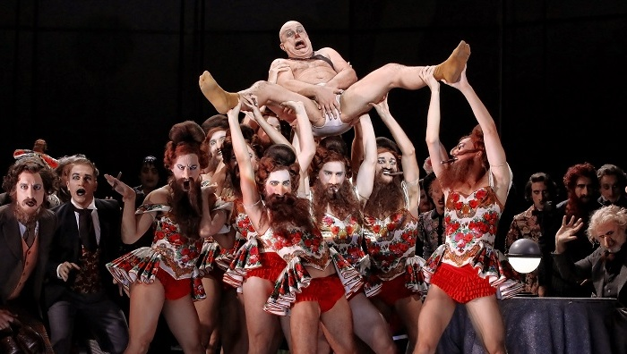 Martin Winkler, ensemble and dancers in Opera Australia's 2018 production of The Nose