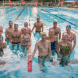 Dickson Aquatic Centre Lap Legends, from left, Sarah Bunker, Craig Johns, John Fleming, Hannah Hobson, Ben Carmody, Mal Wilson, Jenny Kitchen, Peter Haynes, Sasha Basic, Stuart Godley, Jill Pettiffer, Mark French, Jane McCallum, Jenny Weir and Ben Buchler. Photo by Carl Davies