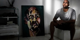 "Still from  ""Guilty,""Peter Milne, shows Myuran Sukumaran with his paintings"