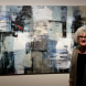 Judith White in front of her artwork titled 'Moat'.