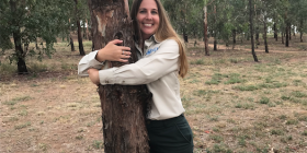 "Tree-hugging Samantha Ning... ""I just love trees. They make you feel good, they look beautiful, they're air conditioners, they filter pollution, they bring so many benefits."" Photo by Kathryn Vukovljak"