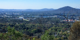 View from cafe on top of Red Hill
