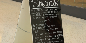 Kippax butcher Wes Dempsey's joke board. Photo by Mike Welsh