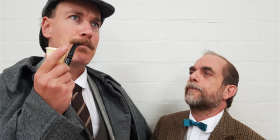 "Holmes (Philip Meddows) and Dr Watson (Peter Fock) in ""The Hound of the Baskervilles""."