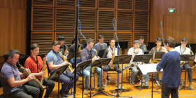 The Sydney Conservatorium of Music Saxophone Orchestra rehearses.