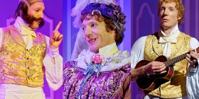 "Nathan O'Keefe in his ""Sense and Sensibility"" roles as, from left, Robert Ferrars, Lady Middleton and Edward Ferrars. Photos by Chris Herzfeld"