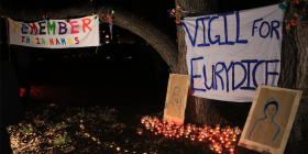 The weekend's solidarity vigil in Haig Park. Photo by MIKE WELSH