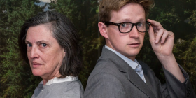 """Karen Vickery as """"queen of the thriller"""" Patricia Highsmith and Lachlan Ruffy as Edward Ridgeway… """"These trained actors understand how to move, how to analyse text, how to approach characters,"""" says """"Switzerland"""" director Jordan Best. Photo by Novel Photographic"""