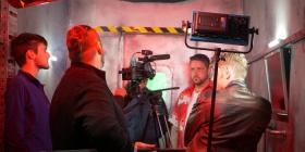 Shooting the film,  Carl Emmerson left.