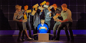 "Joshua Jenkins (as Christopher Boone) and company in ""The Curious Incident of the Dog in the Night-Time"". Photo by Brinkhoff Mögenburg"