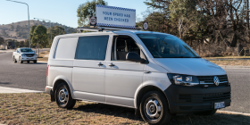 The speed-camera van… can monitor six lanes of traffic at a time in both directions. Photo by Ana Stuart