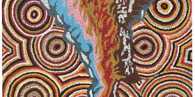 Hilda Moodoo and Jeffrey Queama, Destruction II, 2002  synthetic polymer paint on canvas,  Art Gallery of South Australia