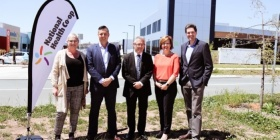 Bec Cody MLA, left, National Health Co-op CEO Adrian Watts, Senator David Smith, Minister Meegan Fitzharris and Blake Wilson of National Health Co-op