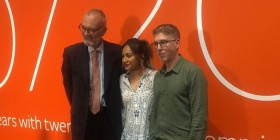 Angus Trumble, Jessica Mauboy and David Rosetzsky this morning