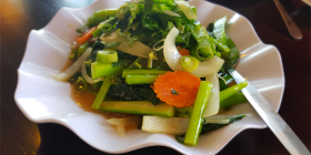 Pho Phu Quoc's Chinese broccoli in oyster sauce. Photo by Wendy Johnson