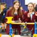 Year 8 students Cheyenne Crozier and Paige Berkelmans  during a game at the VEX Scrimmage hosted at St Clare's.